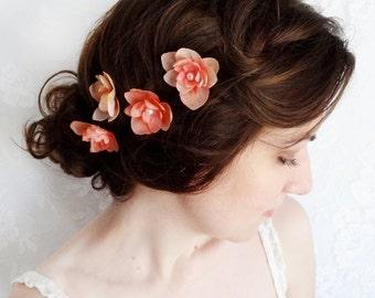coral flower hair pins, coral flower, flowers for hair, flower hair pins, coral wedding, coral hairpiece, bridesmaid hair accessories