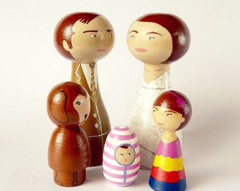 Family portrait of 5 Dolls children pet Personalized FREE SHIPPING Wooden hand painted father mother dog cat special gift