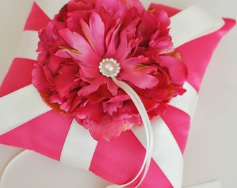 Fuchsia Pink Ring Bearer Pillow - Ivory and Pink Ring Bearer Pillow - Ready to Ship - SAMPLE SALE