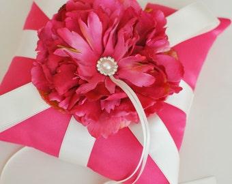 Hot Pink Ring Bearer Pillow - Pink Ring Bearer Pillow - Ready to Ship - SAMPLE SALE