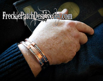 Men's Cuff Bracelet / Copper and Silver / Mixed Metal/ Made to Order/ Arthritis Jewelry