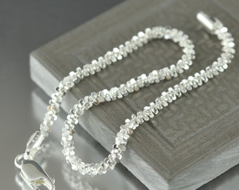 sterling silver Bracelet Fancy sparkle bracelet 7 inch bracelet Made in Italy gifts for her