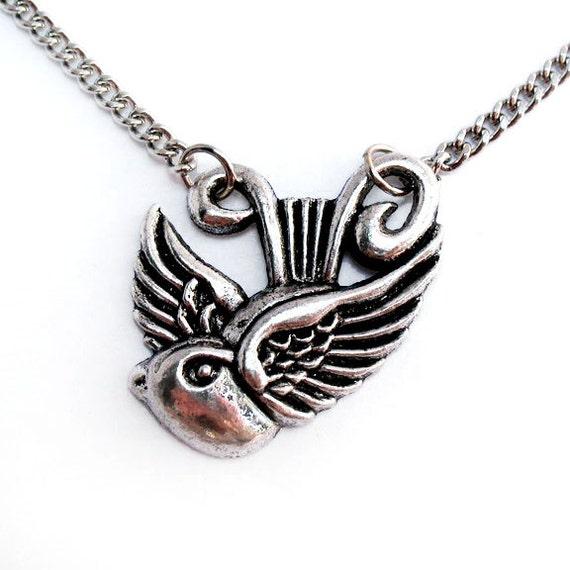 Silver Swallow Necklace, Nautical Jewelry, Rockabilly Necklace