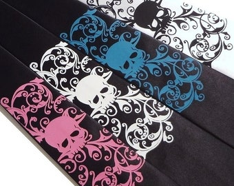 Mens necktie, skull tie, custom colors available, distressed skull tie by RokGear