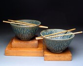 Blue Green Rice Bowls with Chopsticks, Generous Size