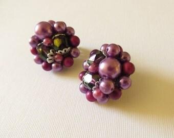 Vintage Purple Beaded and Aurora Borealis Rhinestone Clip On Silvertone Earrings - Made in Japan