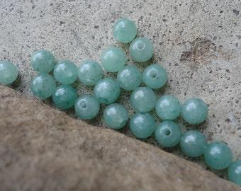 30  Green Aventurine Round Beads