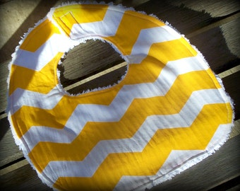 Yellow Chevron Bib--SALE  Chenille baby bib