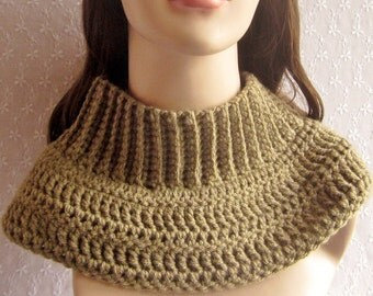 Tan Cowl, Womens Neck Warmer, Ribbed Turtleneck Cowl