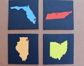 Reserved Listing for Elizabeth Brown- State Love Pop Art Painting - Custom Made to Order - 4x4 - Four panels