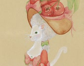Cat and Cherries Unique Animal Alphabet Art, French Alphabet Art, C is for Chat and Cerises, Marie Antoinette style 5x7 Watercolor