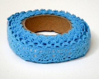 Fabric Tape - Blue Crochet Lace, Decorative Cotton Adhesive