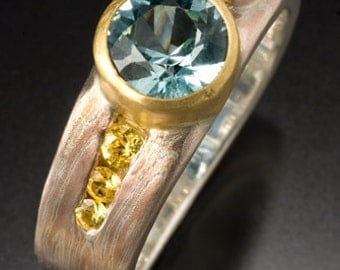 Mokumé Gane 14K Rose Gold and Sterling Silver Engagement Ring with Aquamarine and Yellow Sapphires