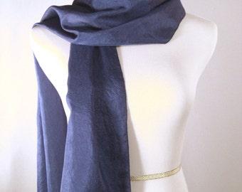 Long  Scarf - Crinkled Silky Satin Scarf - Royal Blue Scarf - Dark Blue Scarf - Dressy Scarf