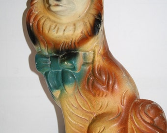 RARE,1950s LASSIE, COLLIE Dog, Carnival Chalkware Bank, Midway Prize, Disney Character  figure,