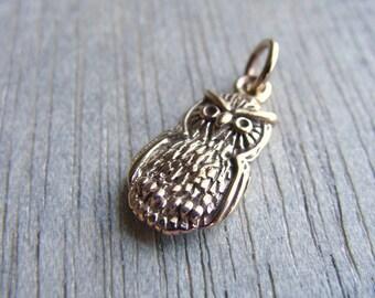 Gold Owl Charm, Gold Bird Charm, Gold Bronze Owl Charm, Bronze Bird Charm, 18mm, (1), destash, CLEARANCE 10% off use code SAVE10