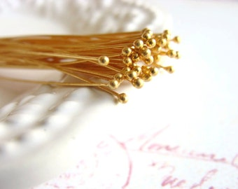 Gold Vermeil Ball Headpins, Gold Bali Headpins, Gold Plated Sterling Silver, 2 inch, 50mm, 26 gauge, (50), 10% off use code SAVE10