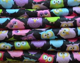 Fun Owl Felt Printed Feltro estampado Printed Felt Sheet