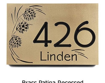 Pine Cone Address Numbers, Pine Plaque, Pine Cone Welcome sign, Welcome Sign 16x10.5 inches Made by Atlas Signs and Plaques