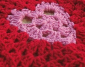 Crochet Heart Blanket / Granny Square Afghan with Red & Pink Hearts Valentine Blanket - Couch Throw Blanket - Ready to Ship Crochet Blanket