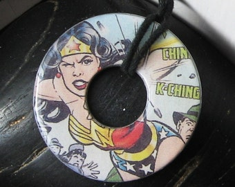 WONDER WOMAN Upcycled Paper Hardware Washer Pendant Necklace DC Comics Superman Comic Book