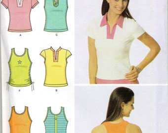 Simplicity 5000 6 Made Easy Knit Misses Summer Pullover Tops Pattern Womens Sewing Pattern Size 6 8 10 12 Bust  30 31 32 34 UNCUT