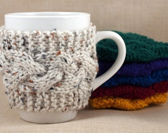 Aran Fleck Hand Knit Coffee Mug Cozy Cable Stitch