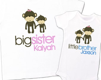 matching sibling shirt set monkeys big sister little brother big brother little brother - monkey personalized sibling t-shirts TWO shirts