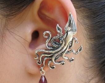 Kraken Squid Ear Cuff With Swarovski Briolette Drop Silver - Kraken Jewelry Kraken Earring - Steampunk Jewelry Steampunk Ear Cuff