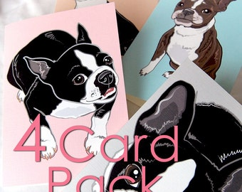 Boston Terrier Greeting Cards - 4-Card Pack