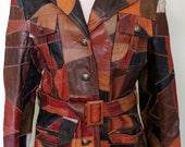 Multicolor Vintage Patchwork Leather Coat