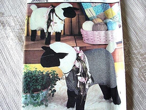 Vintage 1980s Simplicity Standing Stuffed Sheep Pattern Fabric Animal UNCUT