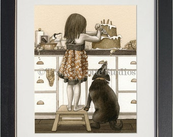 Bake Me A Cake - archival watercolor print by Tracy Lizotte