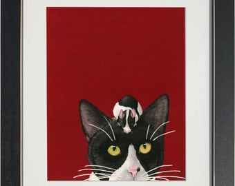 Black White and Red All Over - archival watercolor print by Tracy Lizotte