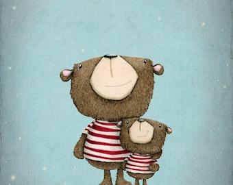 art  print -  Bear - red stripes - stars - illustration - wishes - 'WISH UPON A STAR!'