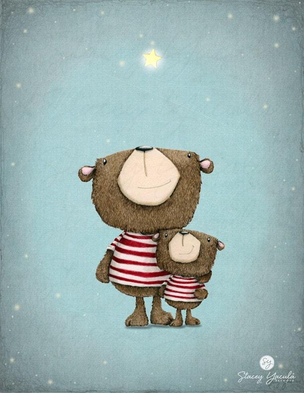 Art print bear red stripes stars illustration for Chambre 8x10