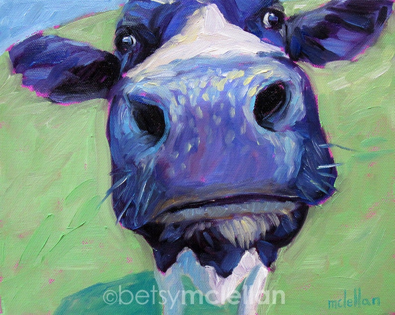 Cow cow art cow print paper canvas wood block for Cow painting print