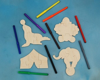 Circus Party Favors - Childrens Wood Puzzles - Package of 12 Circus Puzzles with Markers - Great for Childrens and Toddler Party Activity