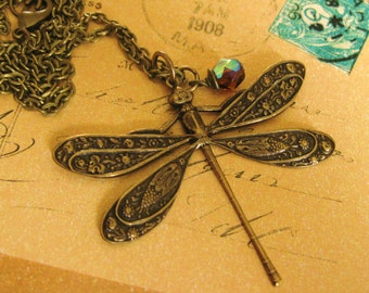 Vintage Brass Dragonfly Necklace COME ILLUMINARE
