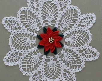 Poinsettia Pineapple Doily Crochet Pattern PDF