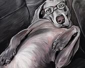 WEIMARANER dog art print gray weim wearing glasses 5x7