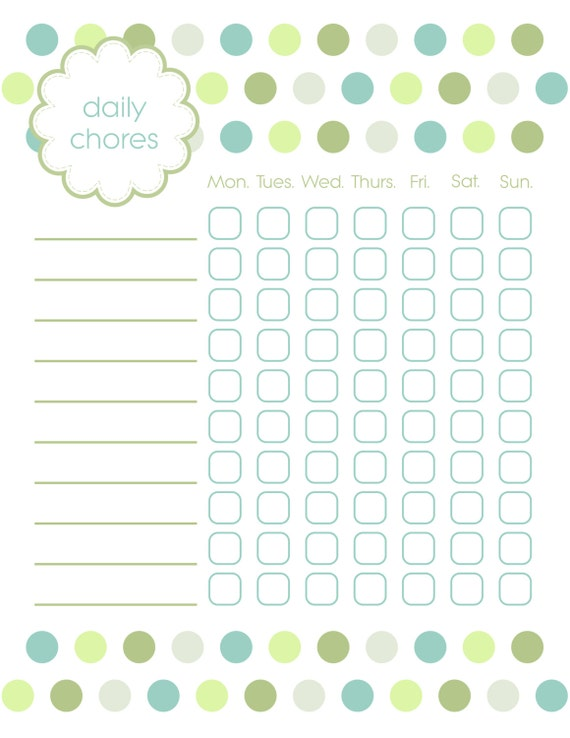 Chore Chart for Kids - Instant Download