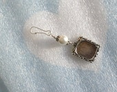 Wedding bouquet memorial photo charm.  White shell pearl charm.