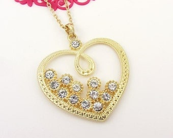 Gold Heart With Rhinestone Pendant Necklace