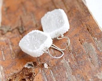 Snow White Druzy Beadwork Earrings - Drop Dangle Sterling Silver Agate Quartz Drusy Gemstone Ice Sugar Beadwoven Jewelry