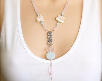 Pastel Beadwork Pendant Statement Necklace Amazonite Rose Quartz Aquamarine Pearl Gemstone Handmade Boho Jewellery