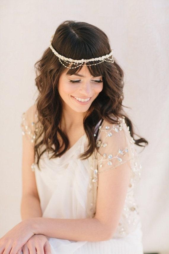 Joy Bridal Headband, Russian Veiling, Bridal headband, boho bridal headpiece, bridal flower crown, bohemian bridal headpiece, boho bridal