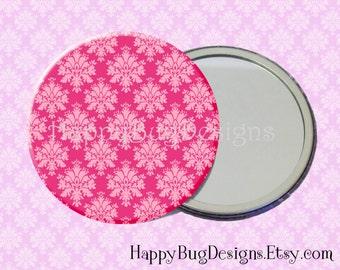 """SALE Pink Damask Pocket Mirror or Magnet - 2.25"""" 2-1/4 inch"""