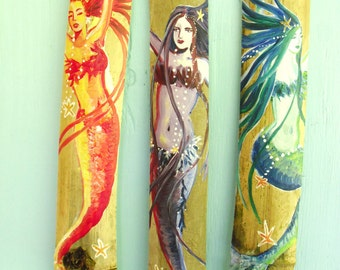 Three Hand Painted Mermaids - Large- Multi-colored Mermaid on Drift wood-Custom Colors- Shabby Chic