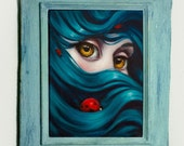 Shelter. Original one of a kind oil painting on stretched canvas, 9x12 framed in a handbuilt antiqued wooden frame.